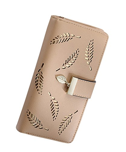 SeptCity Womens Wallet Cute Cut-out Feather Clutch,Gift for Her 1492-Apricot