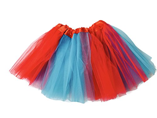 Rush Dance Colorful Kids Girls Ballerina Dress-Up Princess Costume Recital Tutu (One Size, Red & Turquoise -
