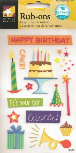 (American Traditional 3-3/4 Inch by 7 Inch Sheet Celebrate Rub-Ons)