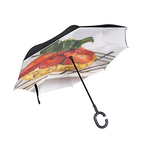 Double Layer Inverted Food Epicure Board Meal Healthy Close Diet Snack Umbrellas Reverse Folding Umbrella Windproof Uv Protection Big Straight Umbrella For Car Rain Outdoor With C-shaped Handle