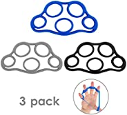 MoKo Finger Stretcher Resistance Bands, [3 Pack] Extensors Training Bands & Hand Grip Ring Muscle Power Tr