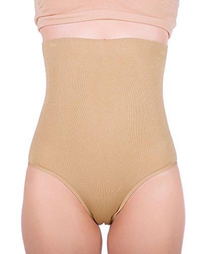 Women's Hi-waist Seamless Firm Control Tummy Slimming Shapewear Panties (Large, Nude)