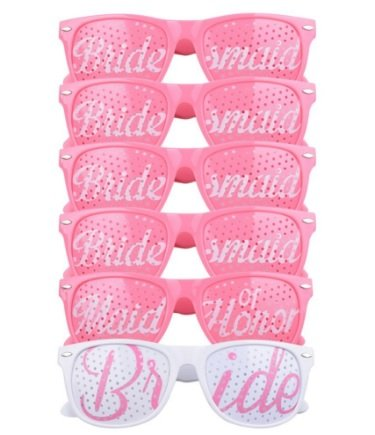 [6 PACK] Bachelorette Party Wedding Sunglasses Set for Bridal Party - Bridal Party Favors - Fun Photo Props Novelty Ideas - Outrageous Sunglasses