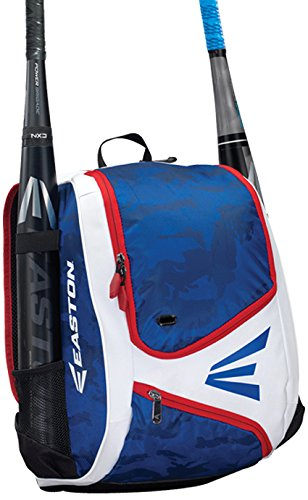 (EASTON E110YBP Youth Bat & Equipment Backpack Bag | Baseball Softball | 2019 | Red White Blue | 2 Bat Sleeves | Smart Gear Storage | Valuables Pocket | Rubberized Zipper Pulls | Fence Hook)