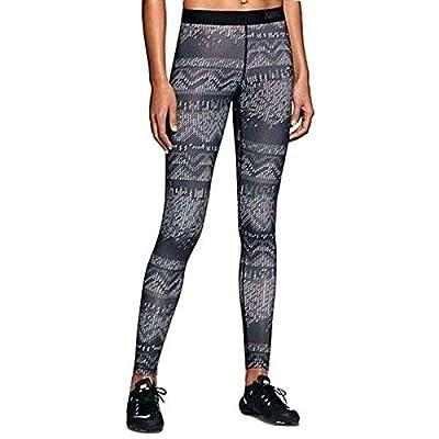 NIKE Womens Pro Hyperwarm Printed Tights Black White 744843 010