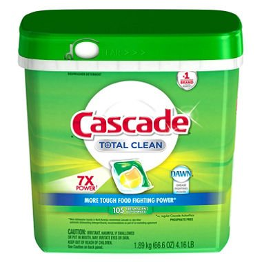 Cascade Total Clean Gel Dishwasher Detergent Pacs, Fresh Scent (105 ct.) (pack of 6) by Cascade