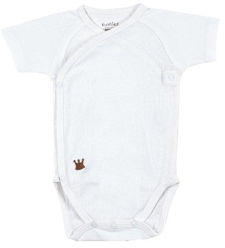 Kushies Unisexbaby Newborn Everyday Mocha Layette Wrap Short Sleeve Bodysuit, White, 3 Months