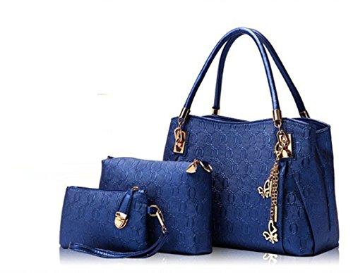 3-In-1 Women Handbag-Crossbody Bag-PU Leather Shoulder Bag Purse 3PCS/Set (Blue)
