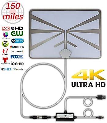 Antena de TV HTV 4K HDTV, rango de 150 millas, antena de TV digital para interiores con amplificador de señal, soporte de amplificador de señal 4K 1080P 16 pies, cable coaxial UHF