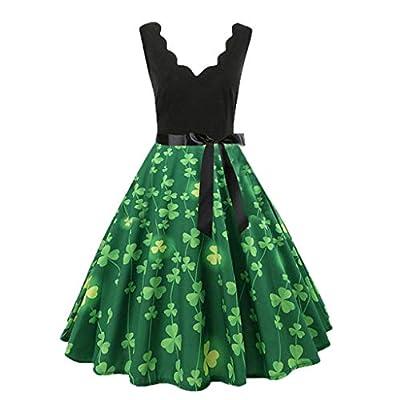 WANQUIY Women Sleeveless V-Neck Knee-Length Dress Floral Print Vintage Pleated Flare Dress