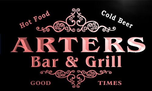 u01411-r ARTERS Family Name Bar & Grill Cold Beer Neon Light (Arter Neon Signs)