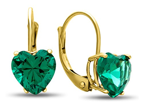 Finejewelers 7x7mm Heart Shaped Simulated Emerald Lever-back Earrings 14 kt Yellow Gold by Finejewelers