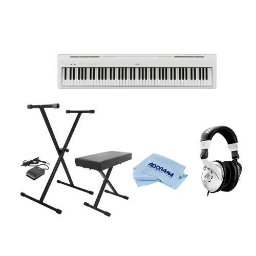 Kawai ES110W 88-Key Portable Digital Piano, White - Bundle With On-Stage KPK6520 Keyboard Stand/Bench Pack with Sustain Pedal, Behringer HPS3000 High-Performance Studio Headphones, Microfiber Cloth