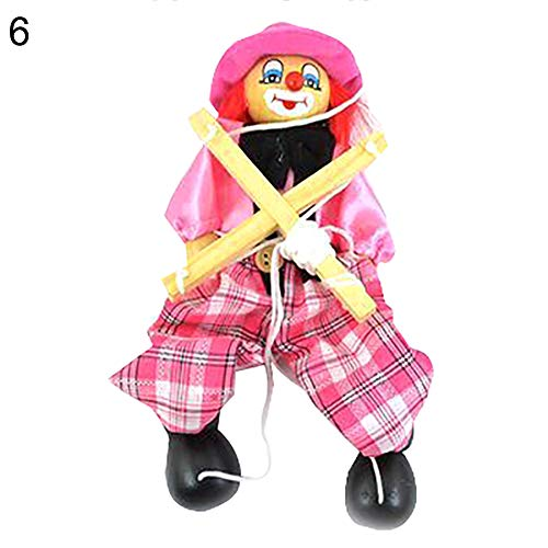 (HsgbvictS Toys for All Ages Kids Pull String Clown Puppet Wooden Marionette Handcraft Toy Joint Move Doll Colorful, Pull String Design, Kids Toy - Pink)