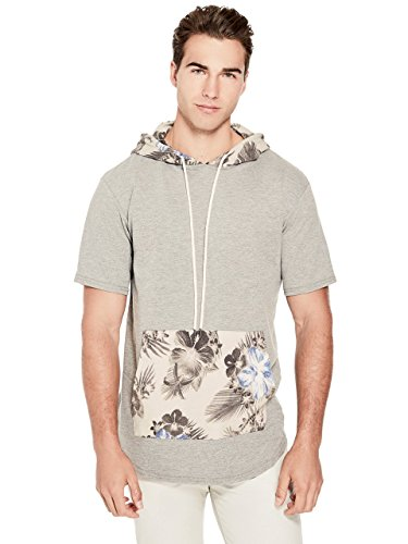 G by GUESS Men's Floral Short-Sleeve Hoodie Cloudy Grey Heather ()