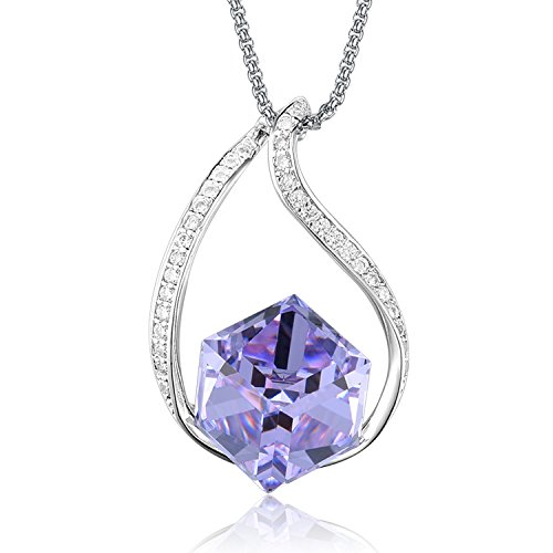 Amethyst Crystal Twisted Silver Necklace - Casfine Purple Crystal Cube Pendant White Gold Crystal Necklace Zircon Pendant Necklace for women