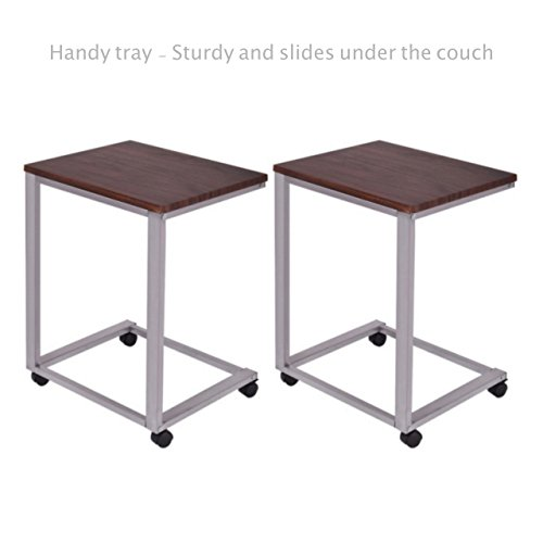 Sofa Side End Coffee Tray Rolling Table Overbed TV Snack Laptop Stand PC Desk Study Iron Frame Home office Decor Furniture - Set of 2 #1817