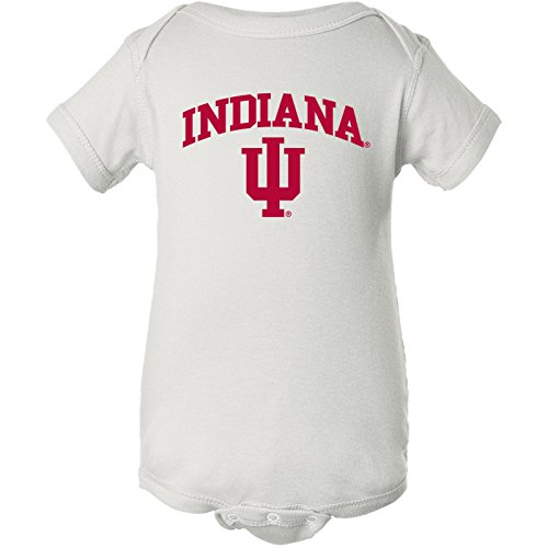 YC03 - Indiana Hoosiers Arch Logo Creeper Infant Creeper Bodysuit - 12 Month - (White Logo Arch)