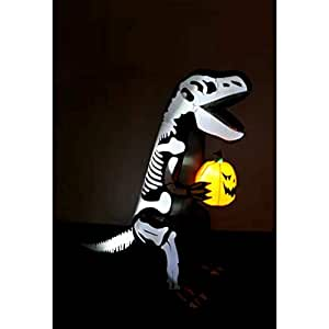 Halloween Airblown Inflatable Surprise Decoration, Outdoor Lighted Freestanding Skeleton Dinosaur with Pumpkin & E-Book