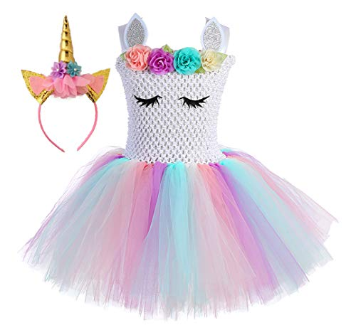 Unicorn Flower Girls Tutu Dress with Headband Plus Size Fluffy Party Dress Halloween Pageant Perform Costume Set (Pastel White-2, XX-Large(9-10Y))]()