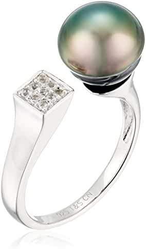 9mm Natural Color Circle Tahitian Cultured Pearl Sterling Silver Ring With White Topaz Ring, Size