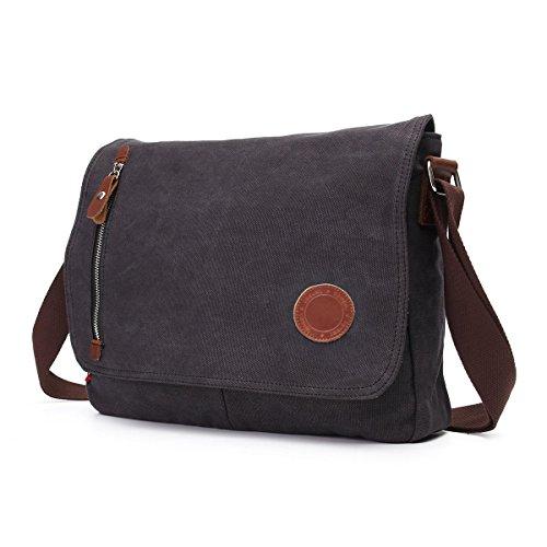 DricRoda Vintage Canvas Briefcase Cross Body Shoulder Bag,Large Capacity Messenger Laptop Satchel Bag with Durable Adjustable Cotton Braided Shoulder Strap for Laptops up to 10 (Braided Shoulder Strap)