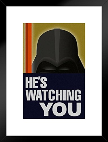 Poster Foundry Hes Watching You Sith Lord Propaganda Matted Framed Wall Art Print 20x26 inch ()