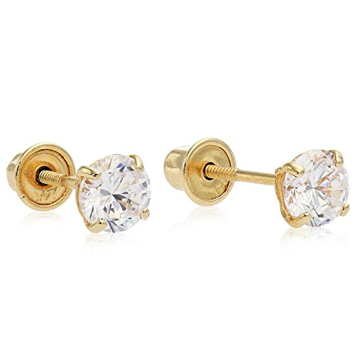14k Yellow Gold Round Solitaire Cubic Zirconia CZ Basket Stud Earrings with Screw Backs, Elegant 4 Prong Setting, By Regetta Jewelry 14k Yellow Gold Round Solitaire