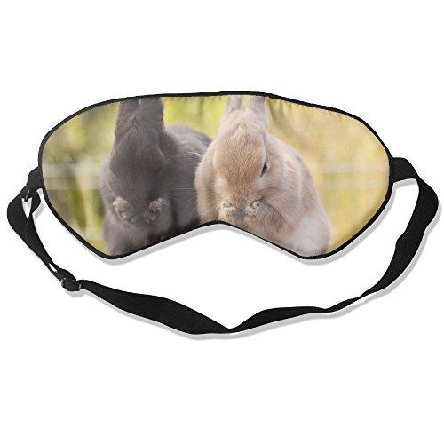 Goods Shops Mulberry Silk Sleeping Masks Black and White Rabbits Eat Eyepatch Eye Masks Adjustable Sleeping Eye Shade -