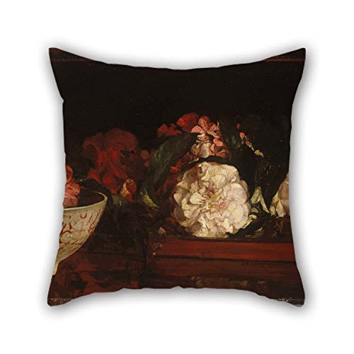 beeyoo 16 X 16 inches / 40 by 40 cm Oil Painting John La Farge - Flowers On A Japanese Tray On A Mahogany Table Pillowcover Two Sides is Fit for Gril Friend Play Room Dance Room Boys Kids Bar for $<!--$9.99-->