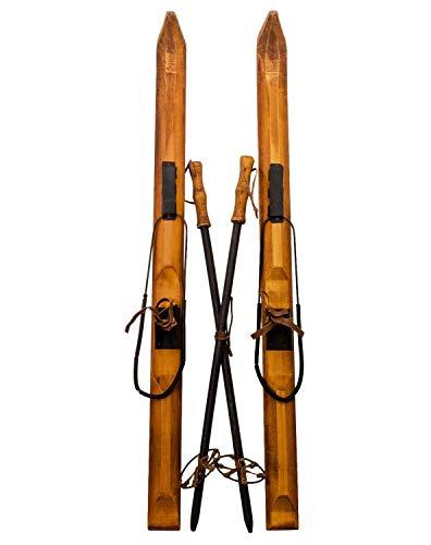 aubaho Paire de Ski Fixation et bâton de Ski Bois Sport Hiver Skier Ski décoration