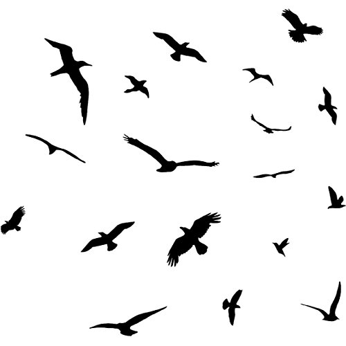 VWAQ Flock of Birds Flying Wall Decals Stickers Peel and Stick Wall Art