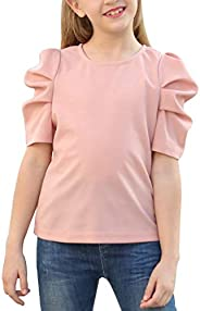 GORLYA Girl's Puff Sleeve Casual Solid T-Shirt Pullover Keyhole Back Blouse Tops for 4-14 Y