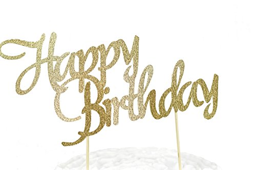 HAPPY BIRTHDAY Gold Glitter Cardstock Cake Toppers