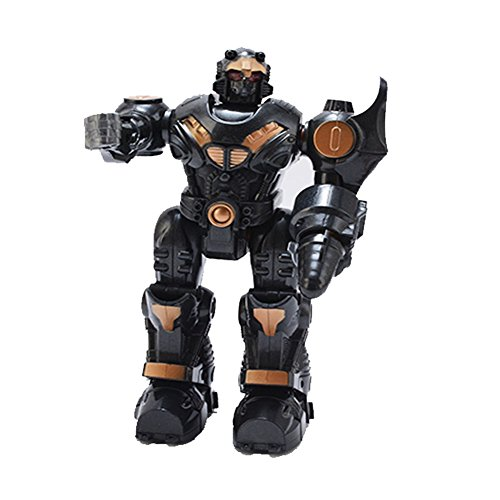 Lightbringer Android Robot Toy Figure For Kids – Lights, Sounds, Realistic Walking Function (Black)