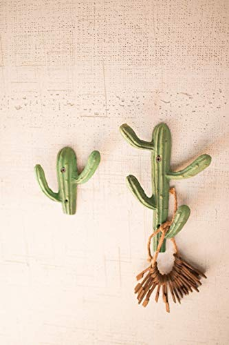 Set of 2 Painted Metal Wall Cactus Coat Hat Towel Hook Santa Fe Desert