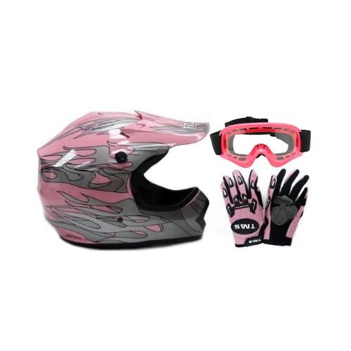 3d19fc43fa274 TMS Youth Kids Pink Dirt Bike ATV Motocross Helmet with Goggles and ...