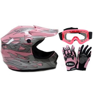 TMS Youth Kids Pink Dirt Bike ATV Motocross Helmet with Goggles and Gloves (Large) (Helmets Atv Kids Small)