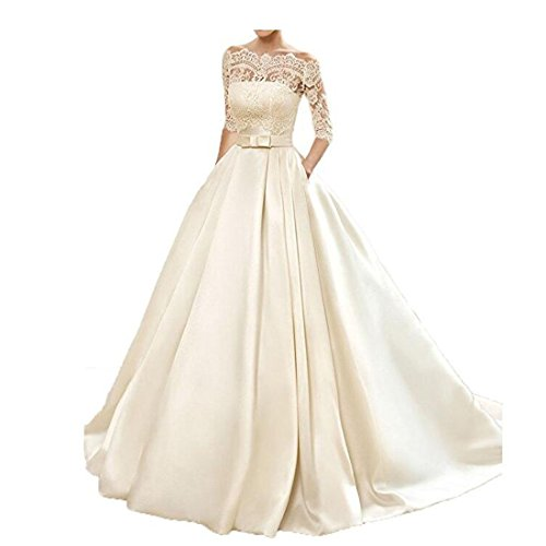 Yuxin Women's Lace Wedding Dress 3/4 Sleeves Sweep Train Satin Bridal Gown (20, - Us Mail Times Delivery