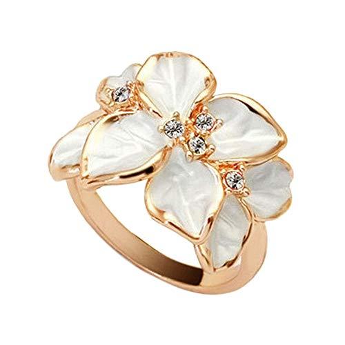 OWMEOT Rose Gold Plated Zircon Crystal Luxurious Black Enamel Flower Design Cocktail Ring