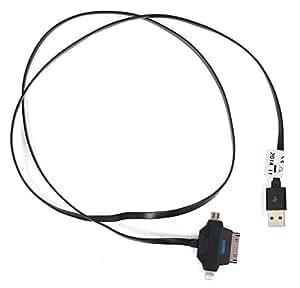 Cable 3 en 1 para teléfono Sony Xperia Z2, Z3 Z3 compact & carga y transferencia de datos: micro USB a conector Lightning, 30 pines, color negro