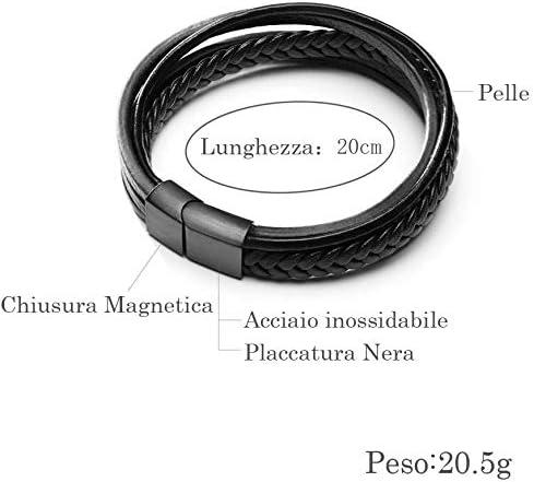 22/cm Bracelet homme acier en cuir aggiustabile Bracelet Homme 20/cm