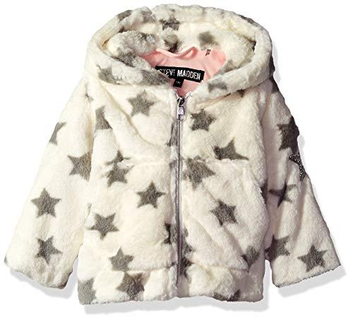 (Steve Madden Baby Girls Star Printed Faux Fur Jacket, Cream/Black,)