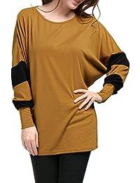 Women's Scoop Neck Color Block Batwing Oversize Tunic Top