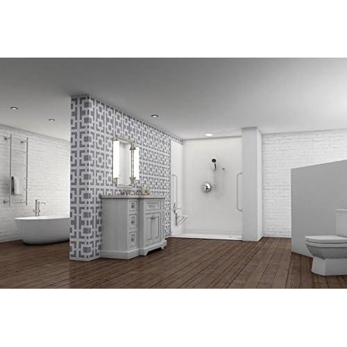 """60"""" x 49"""" White 5-Piece Barrier-Free Modular Shower Surround - Center Drain 60%OFF"""