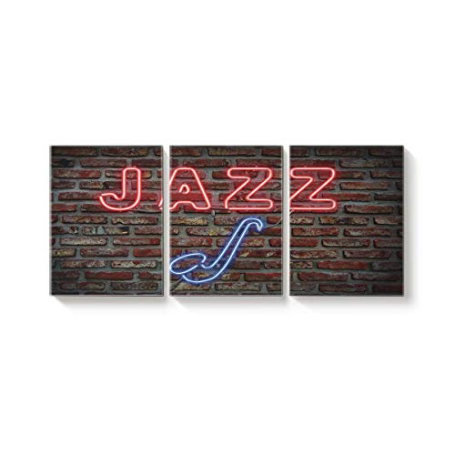 (3 Pieces Wall Art Modern Oil Painting for Home Decoration Neon Lights On Red Brick Walls Jazz and Tobacco Pipe Print On Canvas Giclee Artwork for Wall Decor Framed and Stretched 16
