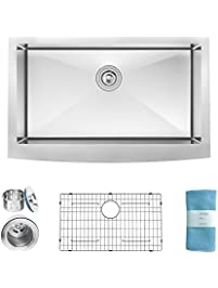 zuhne 33 inch farmhouse apron deep single bowl 16 gauge stainless steel luxury kitchen sink. beautiful ideas. Home Design Ideas