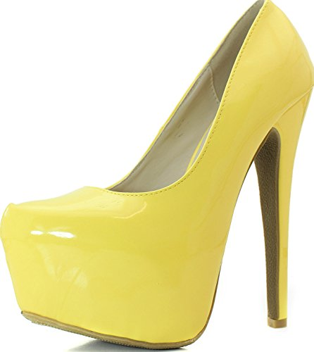 Women's Pointy Toe Hidden Platform Stiletto Pump - Yellow Patent, 6.5 (Yellow Pointy Toe Pumps)