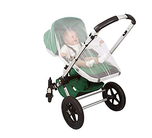 New White Elastic Mesh Mosquito, Insect, Bugs Net Cover Protector for Baby Safety fits BabyZen Strollers, Bassinets, Joggers, Pushchairs, Etc.
