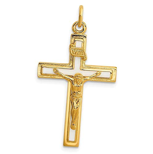 Sterling Silver Enameled Vermeil INRI Crucifix Charm (1.2in x 0.7in) Vintage Crafting Pendant Jewelry Making Supplies - DIY for Necklace Bracelet Accessories by CharmingSS